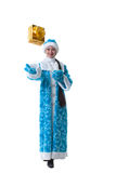 Nice Snow Maiden posing with gift box in studio Royalty Free Stock Image
