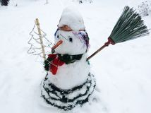 Nice snowman with carrot and Christmas tree Royalty Free Stock Images