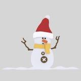 Nice snowman. 3D Royalty Free Stock Photos