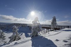 Snowy winterday in Branäs Sweden. Nice snowy winderday in Branäs Sweden 2018. Picture taken at the top with bridge in view Stock Photography