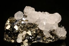 Pyrite, Galena and Quartz from Trepca mine, Kosovo. Nice specimen of white combi mineral, Calcite crystals with Pyrite, Galena and Quartz from Trepca mine royalty free stock images