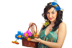 Nice spring girl with fresh flowers Stock Image