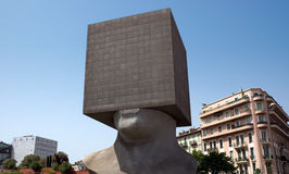 Nice - Square Head. NICE, FRANCE - MAY 2: Square Head - building cube shaped as human head sculpture on May 2, 2013 in Nice, France. Authors are sculptor Sacha Royalty Free Stock Photos