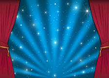 Nice stage with red curtains Royalty Free Stock Images