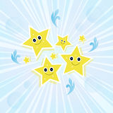 Nice starlets explosive. Blue texture with lots of cartoon stars Royalty Free Stock Photo