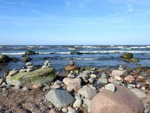 Beautiful stones on sea coast, Lithuania Royalty Free Stock Photo