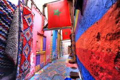 Fes in Morocco. Nice street in the medina of Fes in Morocco Royalty Free Stock Photo