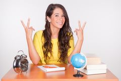 Nice Student At The Desk Royalty Free Stock Photography