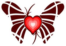 Nice stylized heart with wings and isolated Stock Images