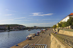 Nice summer day in Prague with Vltava river in flowing through the city Stock Image