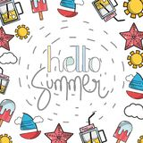 Nice summer vacation activities stock illustration