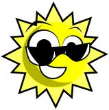 Nice Sun cartoon with sunglasses isolated Royalty Free Stock Image