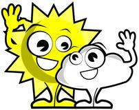 Nice Sun and cloud cartoon isolated Stock Photos