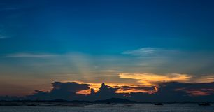 Nice sun ray in twilight sky at sea with Si Chang island Royalty Free Stock Photography