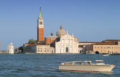 Nice, sunny Venice. The Grand Canale in Venice with boat at the front Stock Photo