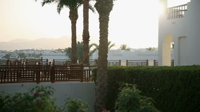 Nice sunrise cityscape view over Sharm in Egypt stock video footage