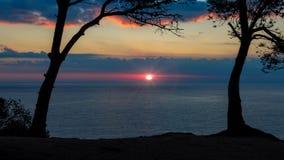 Nice sunrise landscape of the Spanish coastal in Costa Brava Stock Images