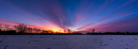 Nice Sunrise Sunset Panorama Royalty Free Stock Photos