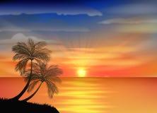 Nice sunset in the beach Stock Photo