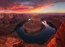 Nice Sunset Image of Horseshoe Bend Royalty Free Stock Photography