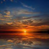 Nice sunset on lake Stock Photography