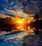 Nice sunset over lake Stock Photos