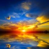 Nice sunset over lake Stock Photo
