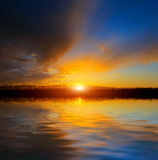 Nice sunset over lake Stock Photography