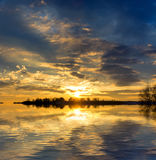 Nice sunset over lake Stock Image