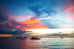 Nice sunset over sea beach Royalty Free Stock Images