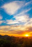 Nice sunset scenery of Lviv city, view from height. Ukraine Royalty Free Stock Photos