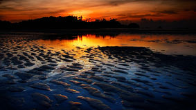 Nice sunset sky and sea at low tide , Thailand Stock Images