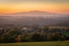 Nice sunset on small city Velesin, Czech landscape royalty free stock photos