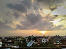 Nice sunset. Nice sunset in a town, shoot from roof top Royalty Free Stock Image