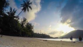 Nice sunset on tropical island.  stock video