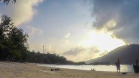 Nice sunset on tropical island.  stock video footage