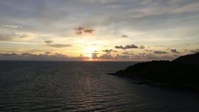 Nice sunset on tropical island at laem phromthep beach stock video