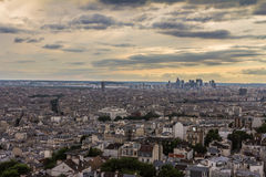Nice sunset view of Eiffel Tower in Paris from sacre coeur Stock Photo