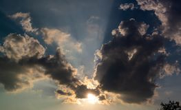 Nice sunshine with clouds cover in sky. Nice sunshine with clouds cover in blue sky royalty free stock image