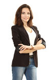 Nice sure business woman. Isolated on a white background Royalty Free Stock Photos