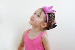 Nice surprised toddler girl in tiara stock images