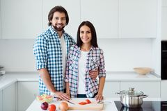 Nice sweet lovely lovable attractive trendy stylish cheerful cheery married spouses making fresh useful healthy dish royalty free stock images
