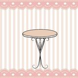 Nice table and funny pink stripped icon Royalty Free Stock Photo