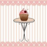 Nice table and funny pink stripped icon Royalty Free Stock Images