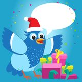 Nice Talking With You. Merry Christmas Card With Cartoon Blue Bird Vector. Christmas Presents Gift Vector. Stock Photography