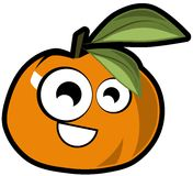 Nice Tangerine cartoon isolated Royalty Free Stock Images
