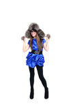 Nice teen in fur hat with pompons Royalty Free Stock Photo
