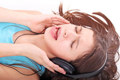 Nice teen girl with headphones Royalty Free Stock Photos