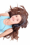 Nice teen girl with headphones Stock Photography