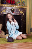 Nice teen girl talking with vintage phone Royalty Free Stock Images